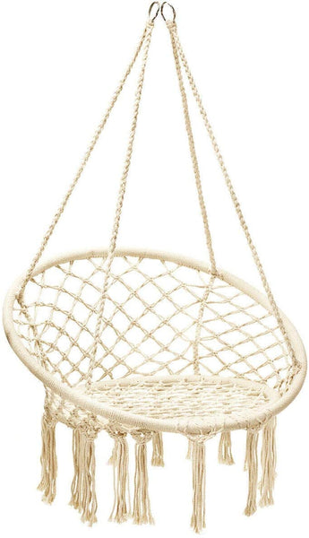 Home Décor Round Shape Hanging Hammock Chair, Durable Cotton Rope Handwoven Relax Swing Seat, Patio Yard Porch Hanging Chair, Round Net Reading Seat, Great for Home Poolside Deck Garden