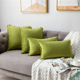 Throw Pillow Covers with Pom-poms, 2 Pack Super Soft Velvet Decorative Pillow Cases, Luxury Accent Rectangular Pillowcases, Square Cushion Covers for Farmhouse,Couch,Sofa, 18x18 Inch, Chartreuse
