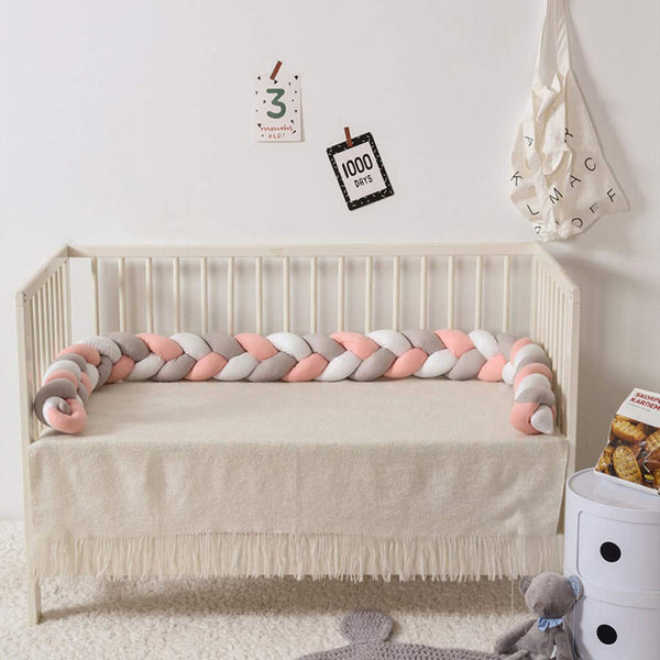 2019 Hot Sale!Cuekondy Baby Braided Crib Bumper Colorful Soft Knotted Plush Protective Decorative Pillow Bedding Cushion for Newborn Toddler Bed Sleep Bumper Safe (B)