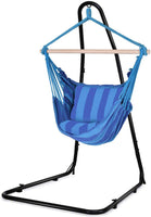 Home Indoor Premium Hanging Hammock Rope Seat, Outdoor Garden Yard Décor Swing Chair, Relax Reading Nest Hanging Seat, Wooden Vintage Design Deluxe Pillow, Stand Not Included, Blue