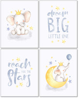 Confetti Fox Elephant Dream Big Baby Nursery Wall Art Decor - 8x10 Unframed Set of 4 Prints - Gender Neutral Boy Girl Lullaby Twinkle Star Moon Quotes
