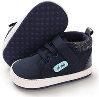 TIMATEGO Baby Boys Girls Canvas Sneaker High Top Ankle Shoes Non Slip Soft Sole Newborn Infant Toddler First Walker Crib Shoes