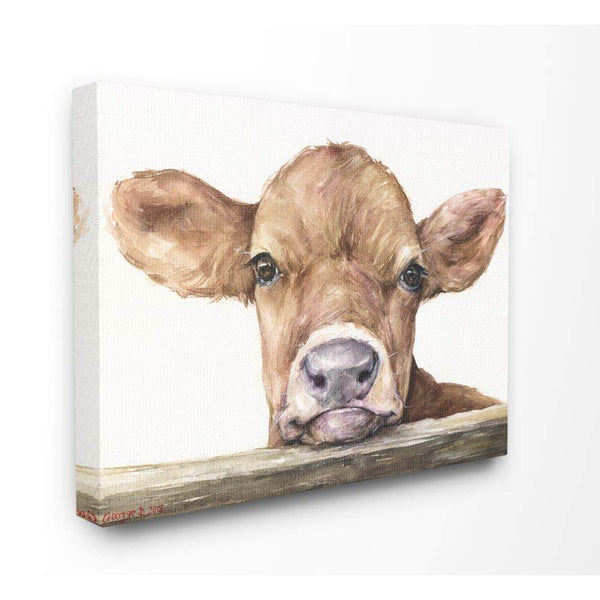 Stupell Industries Cute Baby Cow Animal Watercolor Painting Canvas Wall Art, 16 x 20, Multi-Color