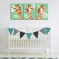 LoveHouse 3 Panel Canvas Wall Art Cute Giraffe Painting for Kids Room Decor Teal Blue Background Animal Giclee Print Contemporary Artwork Stretched Ready to Hang 12x16inchx3pcs