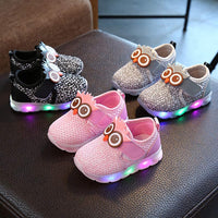 Infant Baby Girls Boys Sneakers Cartoon Owl LED Light Up Luminous Sport Shoes First Walking Shoe for Toddler