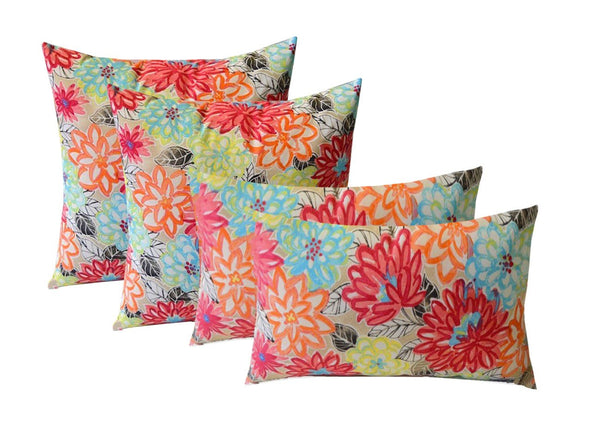 "Indoor Outdoor Set of 4 (2-17""x17"" Square and 20""x12"") Lumbar Decorative Toss Throw Pillows - Yellow, Orange, Blue, Pink Bright Artistic Floral"