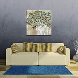 Biuteawal Abstract Tree Canvas Wall Art Gold Blue Tree Artwork Painting Print on Canvas for Home Dining Room Bedroom Decor Ready to Hang 24x24inch