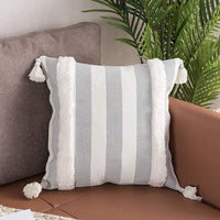 Striped Decorative Throw Pillow Covers 18X18 Inch, Farmhouse Soft Woven Tufted Boho Pillows Cover with Tassels, Accent Cushion Pillows Case for Couch Sofa Bedroom Living Room, Grey and White