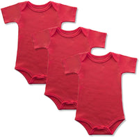 GLEAMING GRAIN Baby Onesies 100% Cotton Short Sleeve Baby Bodysuits Solid Color Infant Bodysuits for Newborn Baby 3-Pack