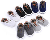 SOFMUO Baby Boys Girls Canvas Shoes Slip On Soft Sole Moccasins Infant Sneakers Toddler First Walkers Infant Crib Shoes