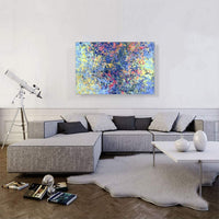 "ARTCANVAS Baby Blue Pink Yellow Splatter Modern Canvas Art Print - 40"" x 26"" (0.75"" Deep)"