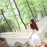Stylish Fringed Outdoor Garden Hammock Rollover Canvas Hammock Swing Hammock Breathable and Durable Load-Bearing 300kg Camping Companion b1219 (Color : White, Size : 240160CM)