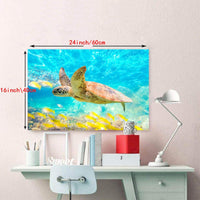 Sea theme style sky blue yellow turtle wall for baby room wall decoration wall art living room decoration picture for toilet wall decoration wall16inchx24inch single panel for the kitchen decoration
