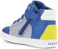 Geox Boys' GISLI HIGH TOP Canvas Sneaker Laces, Blue/Green,