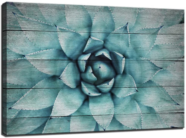 "Vintage Wall Art Blue Agave Canvas Prints Plant Leaves Wood-Grain Canvas Painting,Modern Home Decor Stretched and Framed Ready to Hang,Size 24""x36"""