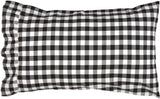 VHC Brands Classic Country Farmhouse Bedding-Annie Buffalo Check White, Cotton Pillow Case Set, Standard (20 x 30 inches), Black