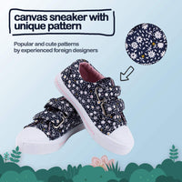 K KomForme Toddler Sneakers for Boys and Girls Cartoon Dual Hook and Loops Sneakers Baby Canvas Shoes