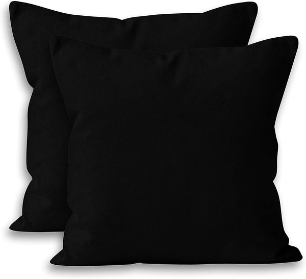 ENCASA Homes Throw Cushion Cover 2pc Set - Jet Black - 20 x 20 inch Solid Dyed Cotton Canvas Square Accent Decorative Pillow Case for Couch Sofa Chair Bed & Home