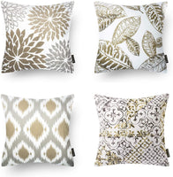 Phantoscope Set of 4 New Living Series Coffee Color Decorative Throw Pillow Case Cushion Cover 18 x 18 inches 45 x 45 cm