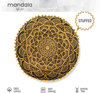 Mandala Life ART Bohemian Pouf Ottoman Cover - Luxury, Artisan Room Décor Pouffe for Meditation, Yoga, and Boho Chic Seating Area Stool Floor Pillow Case – Accent Your Living Room, Bedroom (Renewed)
