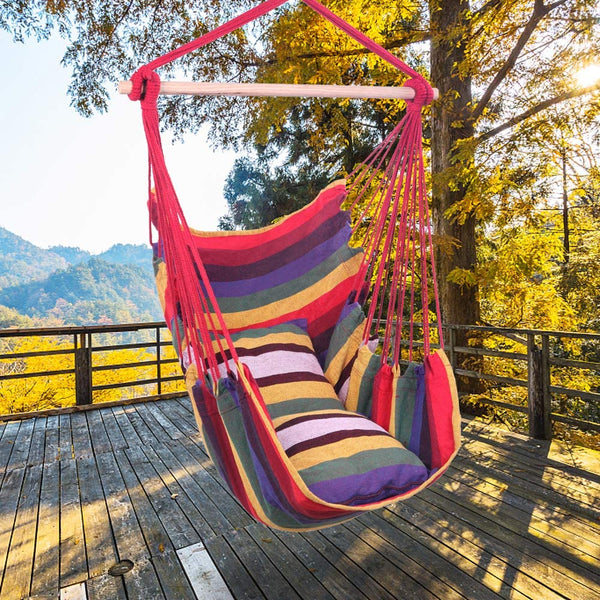 Takefuns Hammock Chair Hanging Swing Rope Chair with 2 Pillows,Air/Sky Chair Swing, Swing Seat Cotton Hammock for Indoor Outdoor Yard Decoration - Rainbow