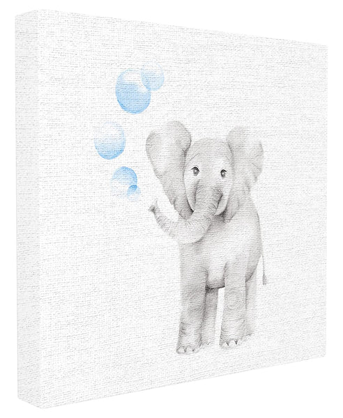 Stupell Industries Baby Elephant Blue Bubbles Linen Look Stretched Canvas Wall Art, Proudly Made in USA