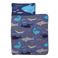 Everything Kids Blue & Grey Shark Toddler Nap Mat with Pillow & Blanket, Grey, Blue, Navy, Orange, Shark - Blue/Grey