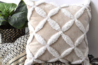 Decorative cream Boho pillow covers 18x18 lumbar woven tufted textured velvet fringe throw pillow cover Rustic farmhouse Decorative pillows for bed 18x18 pillow covers Accent pillow(cream/white 18x18)