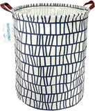 LANGYASHAN Storage Bin,Canvas Fabric Collapsible Organizer Basket for Laundry Hamper,Toy Bins,Gift Baskets, Bedroom, Clothes,Baby Nursery(Blue Stripes)