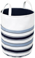 BIRDROCK HOME Canvas Laundry Hamper with Handles - Blue Stripes - Transport Easily - Dirty Clothes Storage - Bendable and Foldable - Round Laundry Bag
