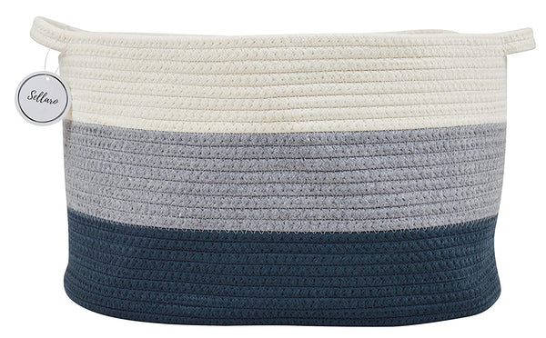 "Cotton Rope Basket for Storage and Organization in Baby Nursery or Kids Room | Large 16"" x 11"" x 10"" Decorative Laundry Hamper, Organizer for Blankets, Towels, Toys, Books 