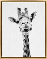 Kate and Laurel - Sylvie Giraffe Animal Print Black and White Portrait Framed Canvas Wall Art by Simon Te Tai, Gold 23 x 33