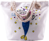 Baby Unicorn Beach Shoulder Tote Bag - Baby Unicorn Weekender Travel Bag - Comes with Quick Reach Zipper Pouch