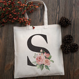 Floral Initial Tote Bag Event Bachelorette Party Baby Shower Bridesmaid Gift Bag