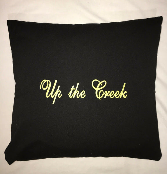 """Up the Creek"" Black Pillow-Yellow Embroidered Stitching 20x18""-New-3-Available"