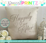 PERSONALISED CANVAS CUSHION HAPPILY EVER AFTER ANNIVERSARY WEDDING CHRISTMAS