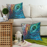 Peacock Feather Print Throw Accent Pillow Insert & Case Hippie Boho Bohemian