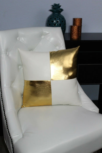 Gold White black Accent Decorative leather pillow throw case cover cushion couch