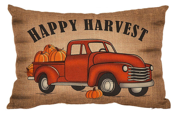 'Happy Harvest' Burlap Throw Pillow Red Truck w/Pumpkins Autumn Fall Home Decor