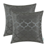 2Pcs Grey Cushion Covers Pillows Cases Shells Accent Geometric Home Decor 18x18""