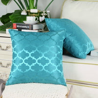2Pcs Lake Blue Cushion Covers Pillows Cases Accent Geometric Home Decor 18 x 18""