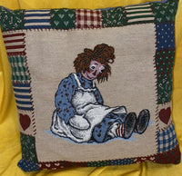 VINTAGE LOT RAGGEDY ANN AND ANDY BLANKET, SHAM COVERS, PILLOW, CURTAINS BEDROOM