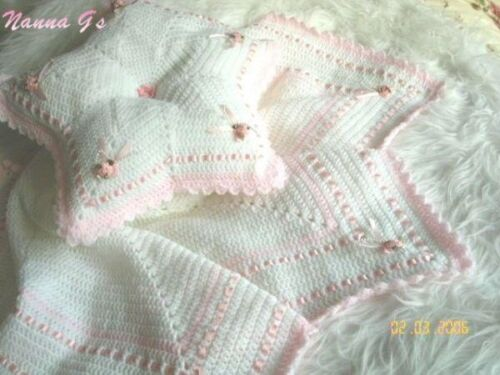 """Star Shawl & Matching Pillow"" For Baby Or To Display Your Reborn (INSTRUCTIONS)"