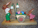 Handmade Wooden Dad & Daughter Easter Egg Cart from Germany