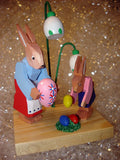 Handmade Wooden Bunnies with Eggs from Germany