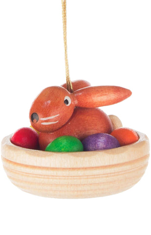 Handmade Wooden Bunny Ornament from Germany