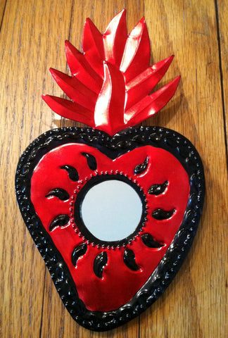 Tin Heart with Mirror