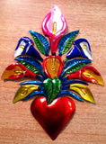 Tin Milagro Heart with Flowers
