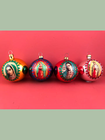 Mexican Glass Ornaments: Our Lady of Guadalupe