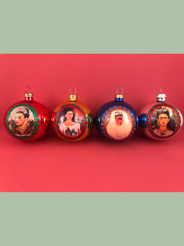 Mexican Glass Ornaments Frida